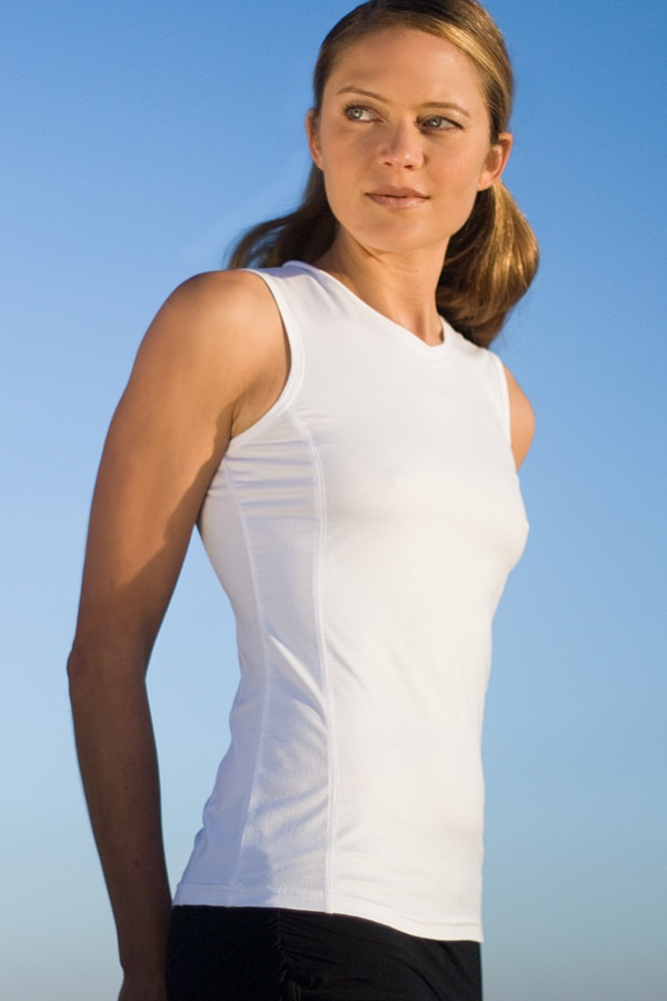 Vinyasa yoga top - light-weight jersey - sleeveless - white - side view - Island Importer