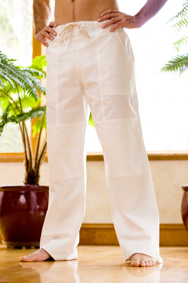 Kundalini yoga pant - cotton - loose-fitting - white - front view - Island Importer