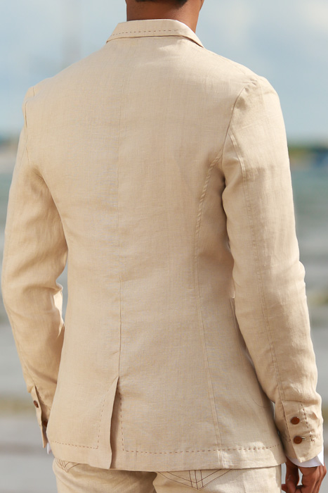 Men's Custom Natural Linen Suit Beach Weddings & Grooms Back