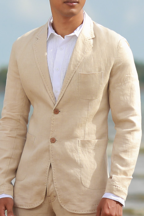 Men's Custom Natural Linen Suit Beach Weddings & Grooms Front