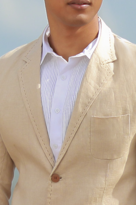 Men's Custom Natural Linen Suit Beach Weddings & Grooms Open Neck