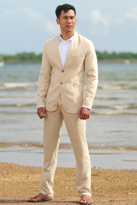 Men's Custom Natural Linen Suit Beach Weddings & Grooms Pants Back-Slit Pocket