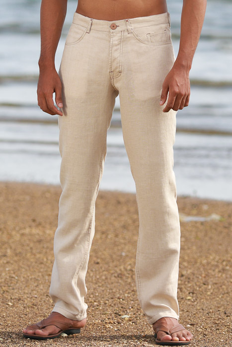 Men's Custom Natural Linen Suit Beach Weddings & Grooms Pants Front
