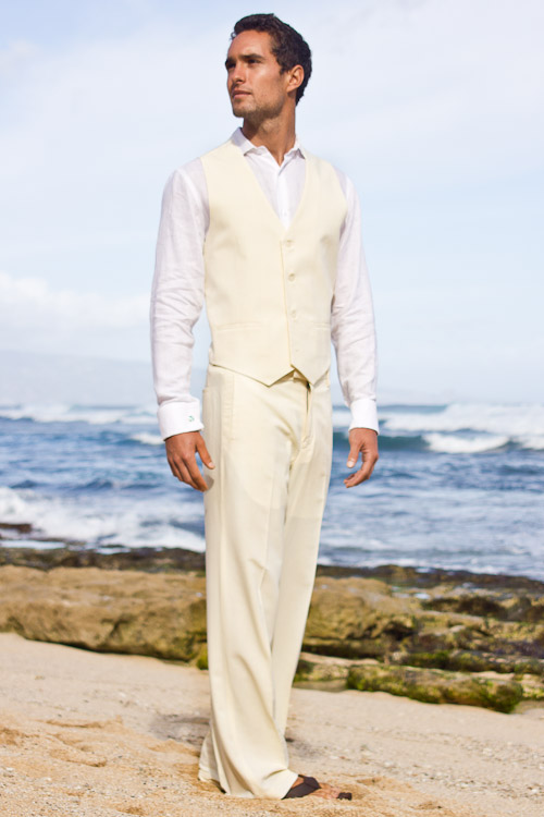 mens custom silk blend ivory vest beach wedding side - mens beach wedding attire pictures