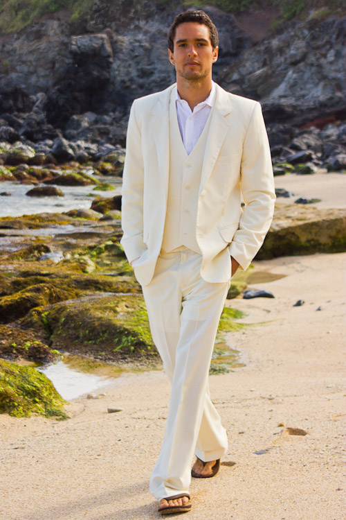 Suit Beach Wedding Front Men S Custom Silk Blend Ivory Vest Pants