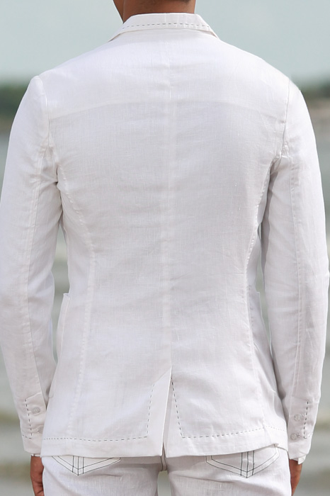 Men's Custom White Linen Suit Beach Weddings & Grooms Full