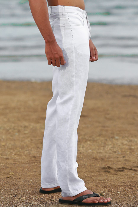 Men's Custom White Linen Suit Beach Weddings & Grooms Pants Back-Slit Pocket