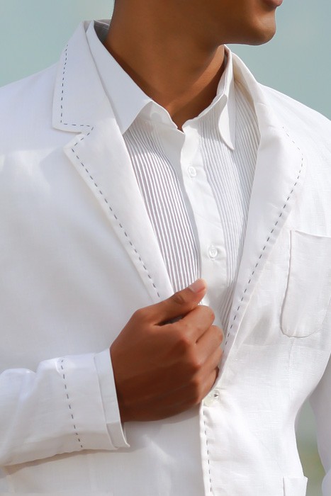 Men's Custom White Linen Suit Beach Weddings & Grooms Pants Back