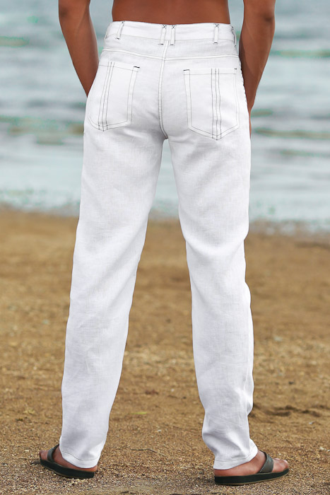 Men's Custom White Linen Suit Beach Weddings & Grooms Pants Front