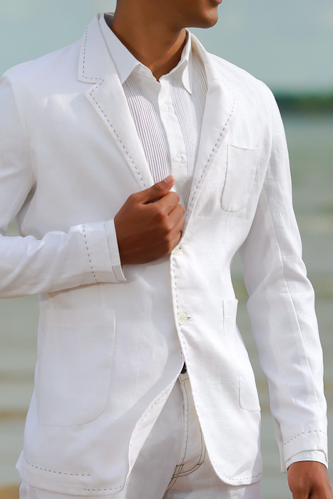 c986f06055 Men's Custom White Linen Suit Beach Weddings & Grooms Pants Front ...