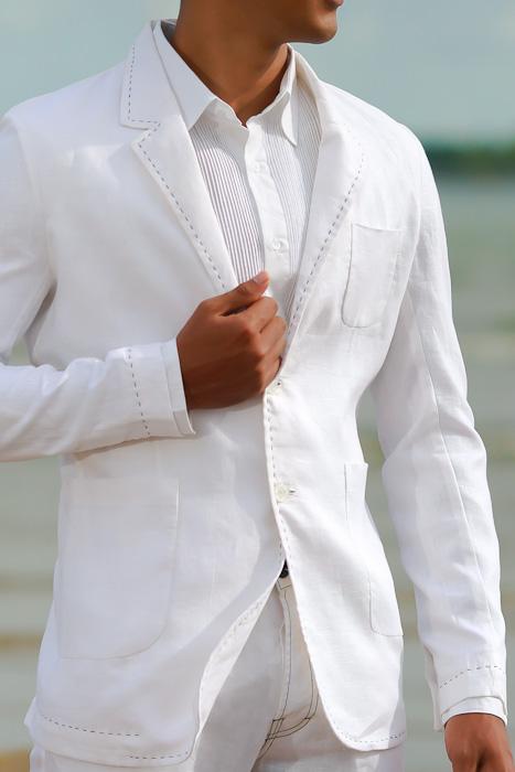 Custom White Linen Havana Suit