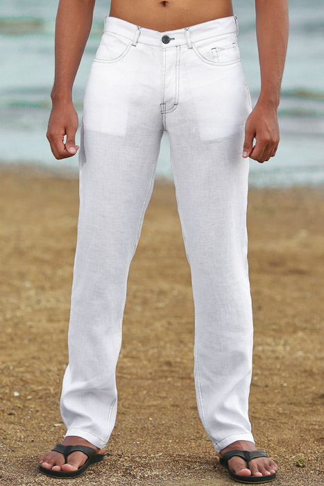 Men's Custom White Linen Suit Beach Weddings & Grooms Pants Side