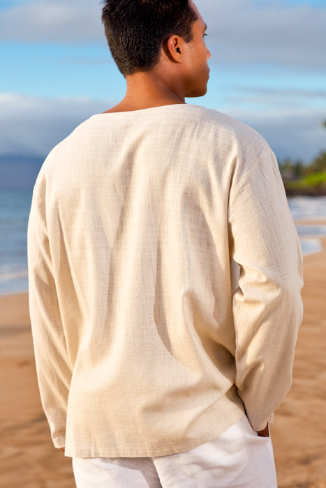 Men S Gauze Linen Long Sleeve White Beach Shirt Open V Neck