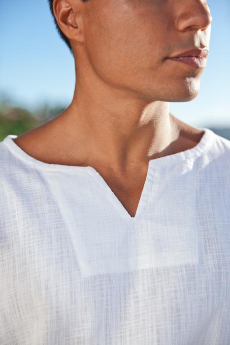 Mens White Gauze Shirt