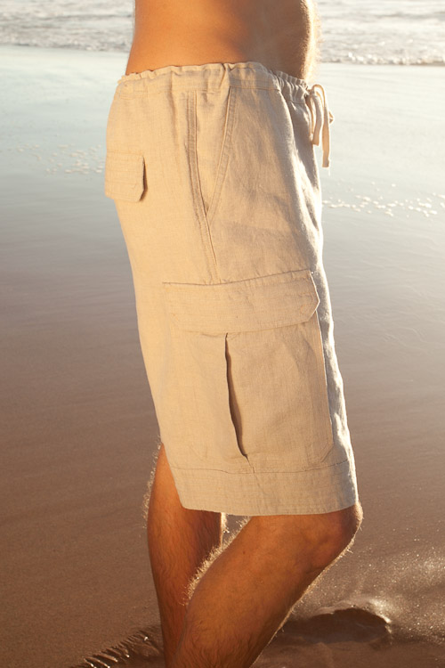Mens Linen Cabo Shorts, Drawstring, Cargo Pockets