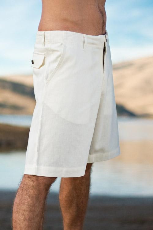 21d71d2958 ... Men's Linen Casual Natural Khaki Beach Shorts Back-Flap Pockets ...