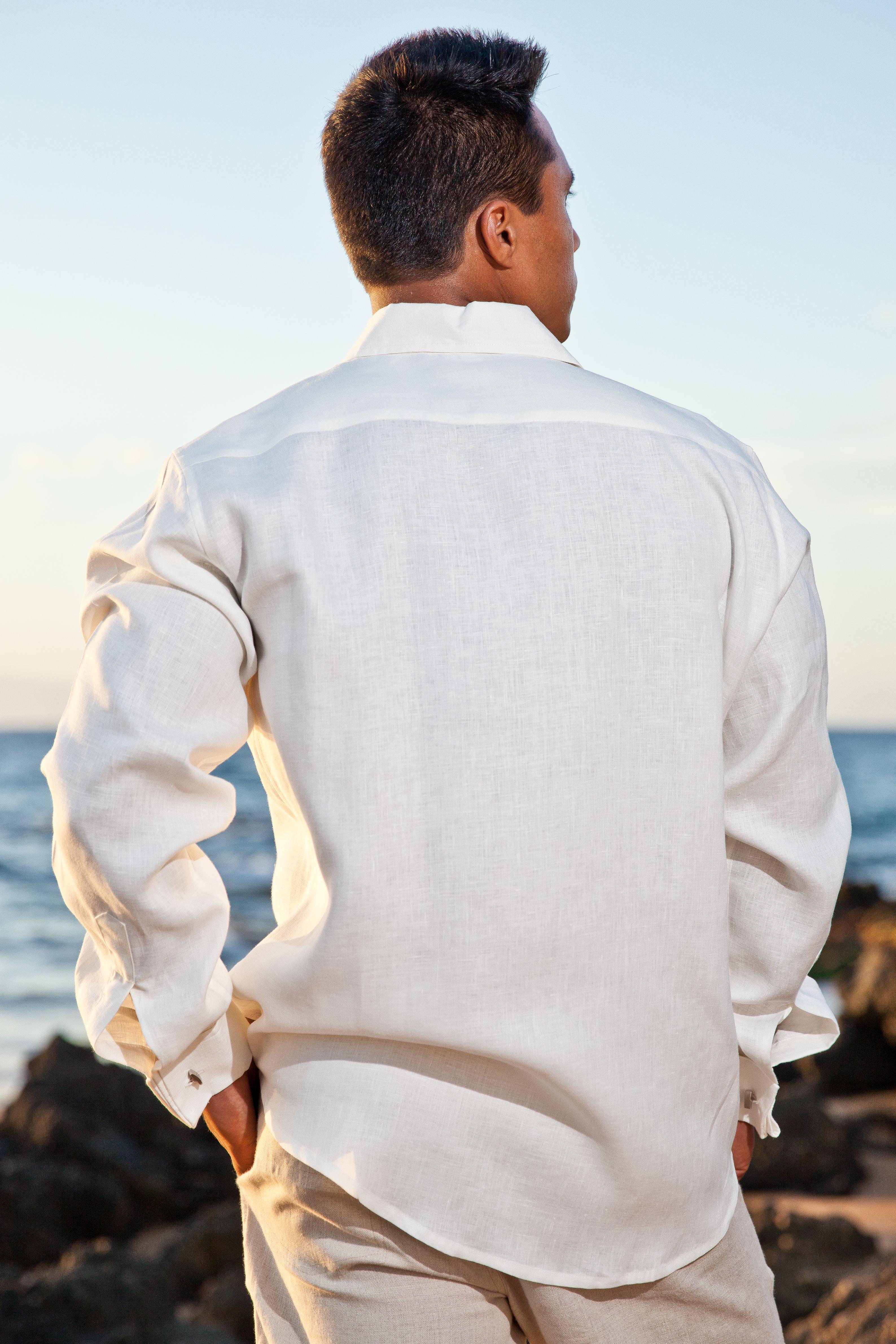 Linen Monaco Shirt French Cuffed Roma Collar Tail Hem