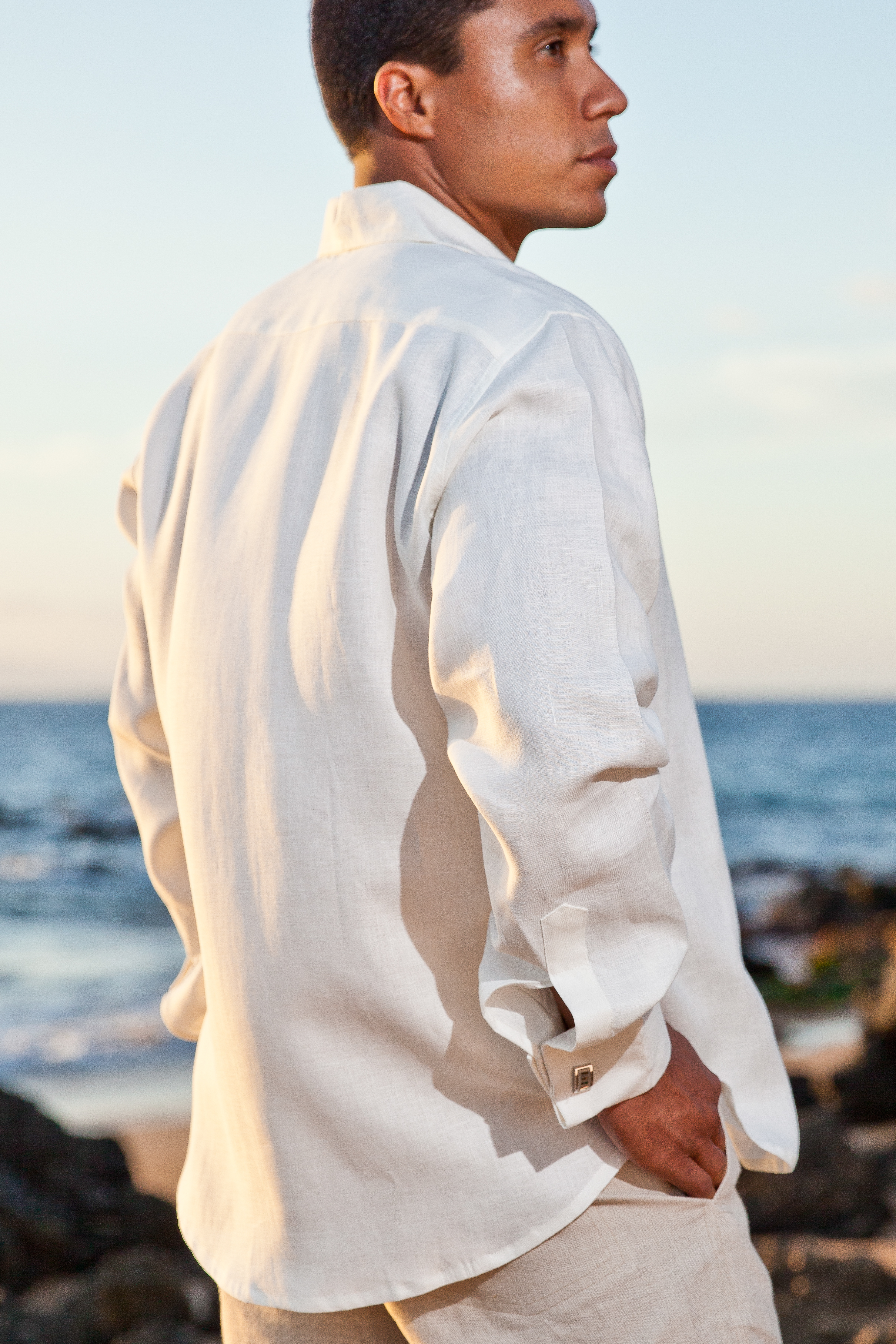 Men S Linen French Cuff White Long Sleeve Shirt Side