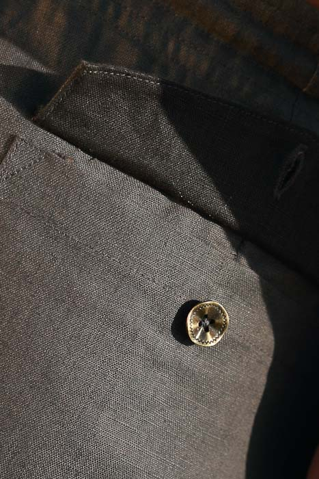 Boy's Linen Gray Dress Pants Beach Wedding Back-Flap Pockets