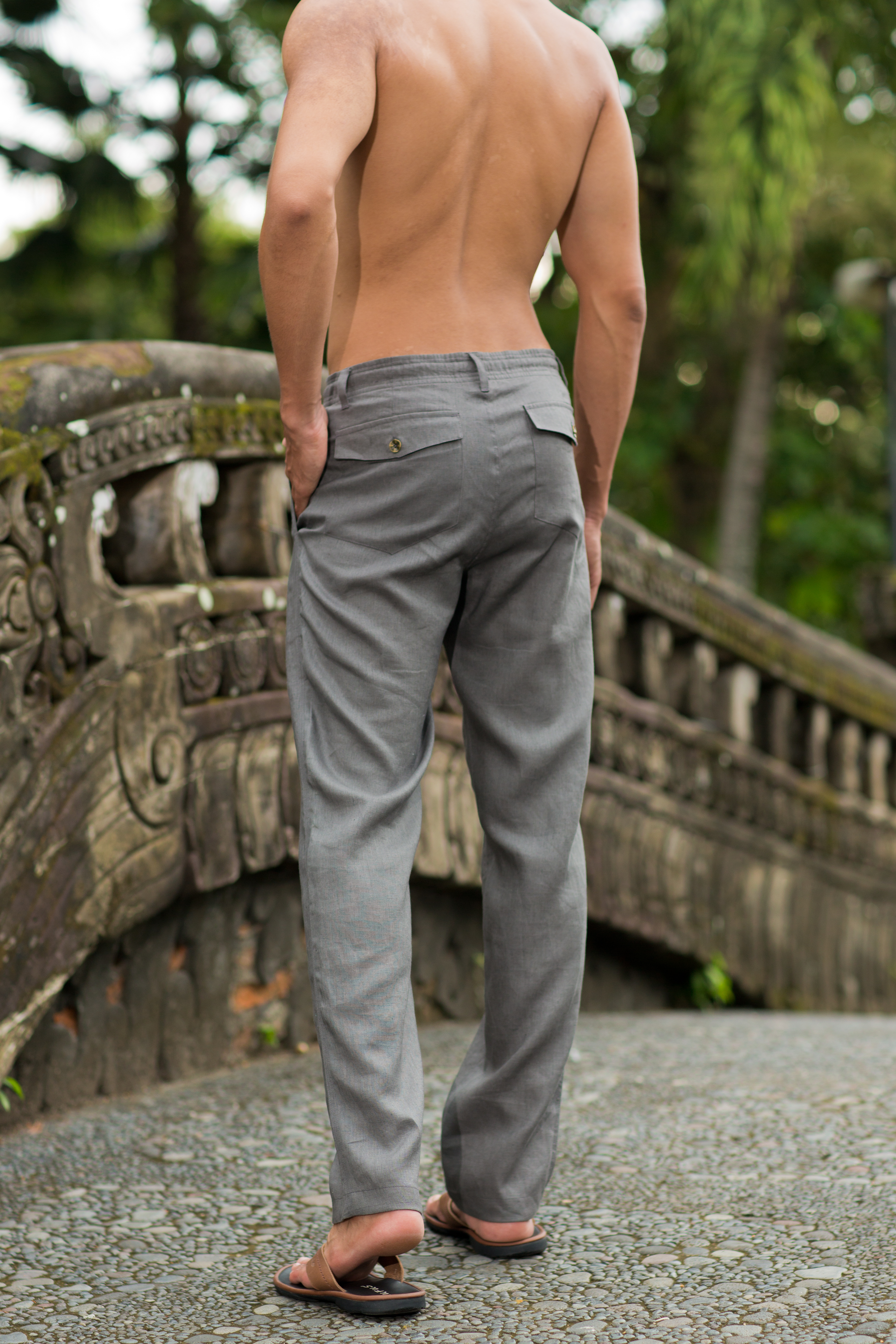 Men S Linen Gray Dress Pants Island Importer