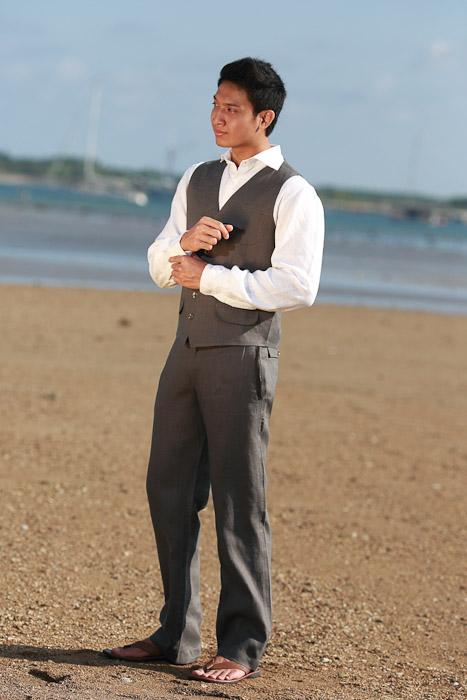 Mens Gray Linen Suit Vest for Beach Weddings