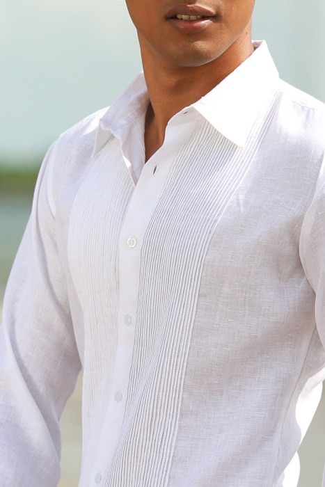 Men's Linen Guayabera Long Sleeve Havana White Shirt Cuff