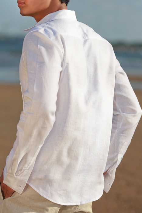 Men's Linen Guayabera Long Sleeve Havana White Shirt Spread Collar