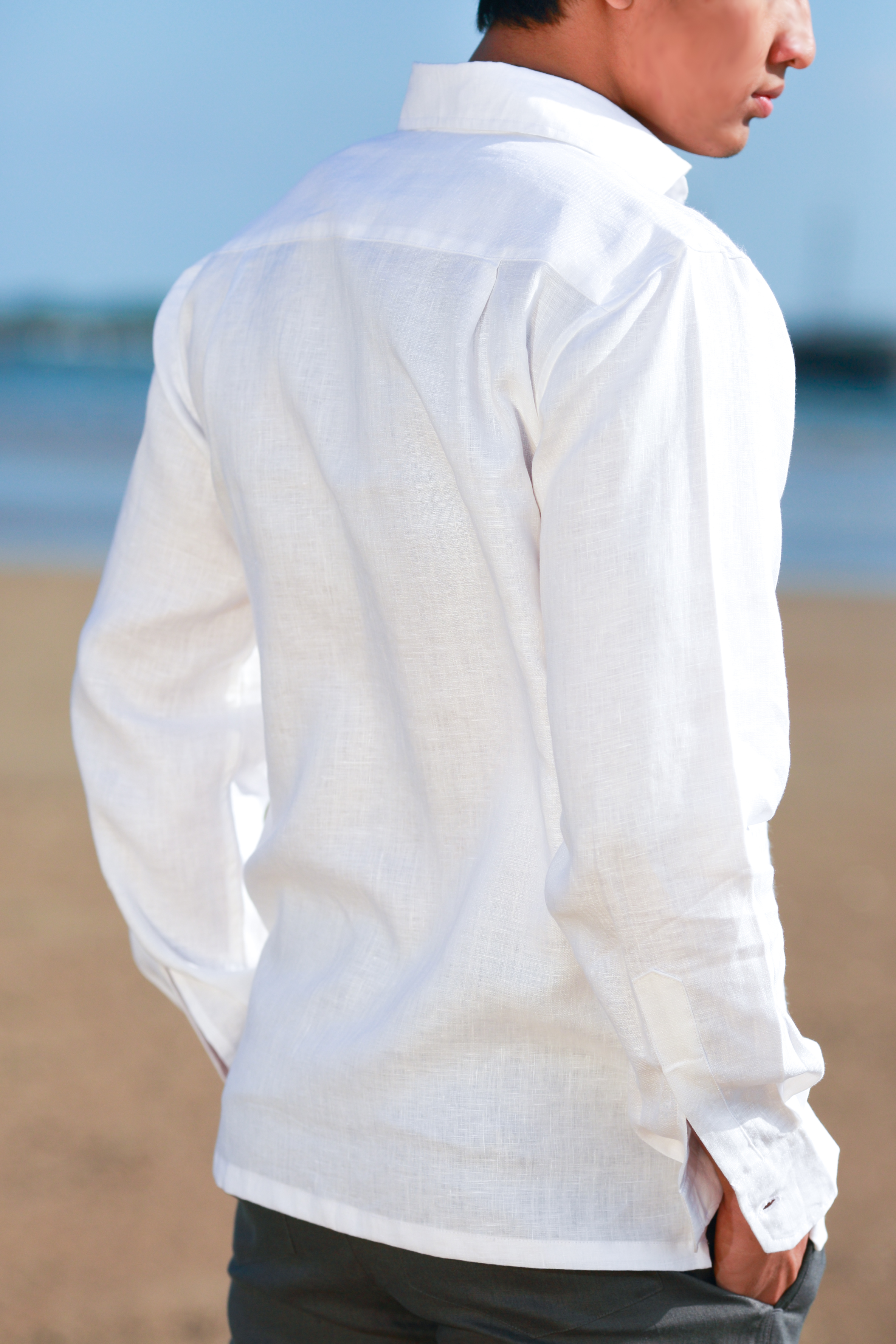 Men S White Linen Long Sleeve Shirt Hand Stitched Design
