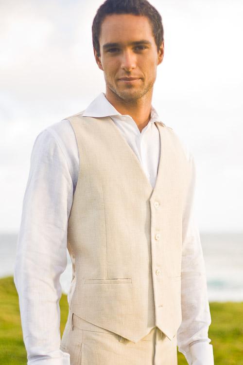 Mens Linen Suit Vest for Beach Weddings, Satin Lining