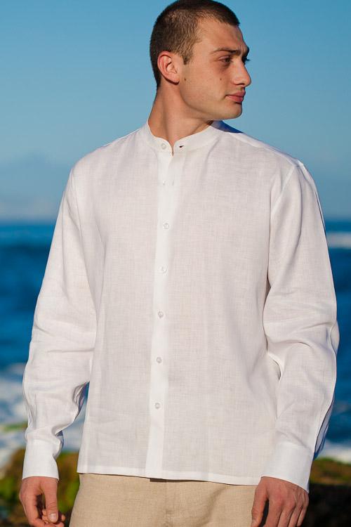 Ceylon Shirt Nehru Collar Eastern Look Amalfi White Front View