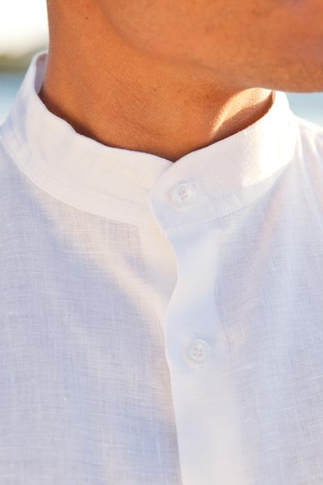 Men S Linen Nehru Collar Long Sleeve White Shirt Island