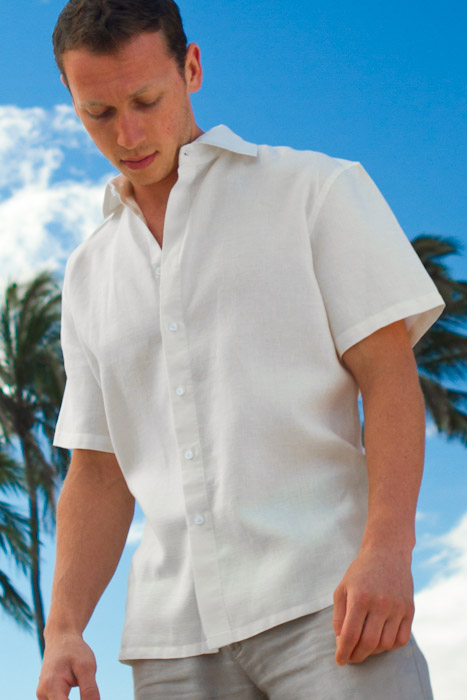 Men S Linen Short Sleeve White Italian Shirt Front