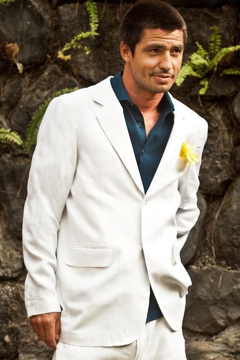 Men's Linen White Suit Jacket - Beach Wedding