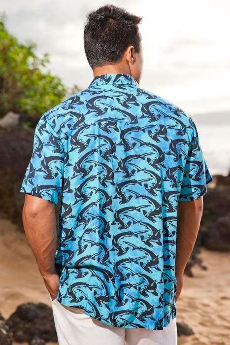 Men S Shark Batik Island Hawaiian Short Sleeve Rayon Shirt