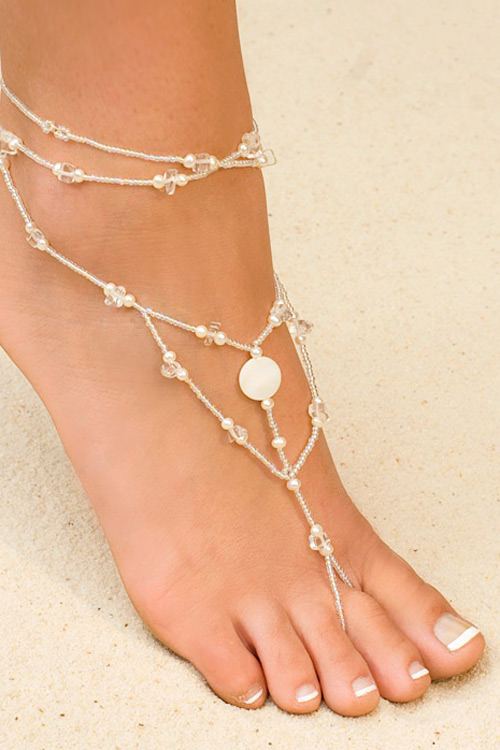 White Foot Jewelry with Crystals and Glass Beads