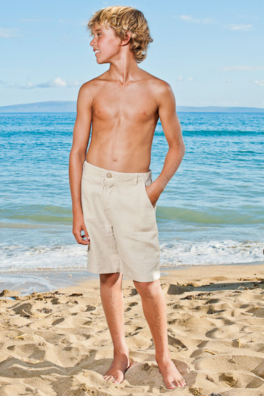 Boy's Linen Casual Beach Shorts - Natural (Khaki)