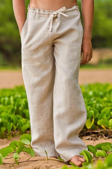 Boy's Linen Drawstring Pants - Loose Fit - Natural (Khaki)