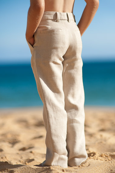 f335d02b5 Boy's Linen Natural Italian Pants - Beach Weddings - Island Importer