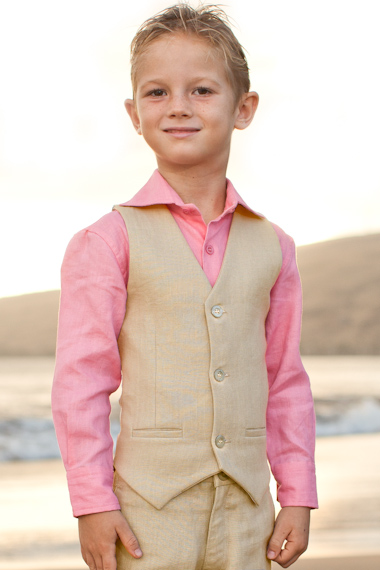 Boy's Linen Natural Vest Beach Wedding
