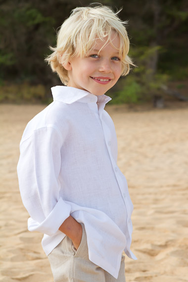 Boy's Long Sleeve White Linen Italian Shirt - Beach Wedding