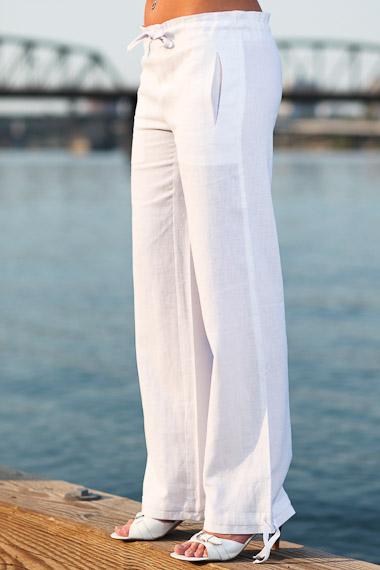Linen Island Pants for Women, Drawstring Waist, White