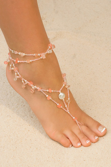Foot Jewelry w Dangles - Pink