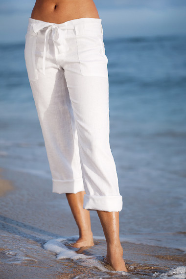Linen Boardwalk Pants for Women, Button Fly, White