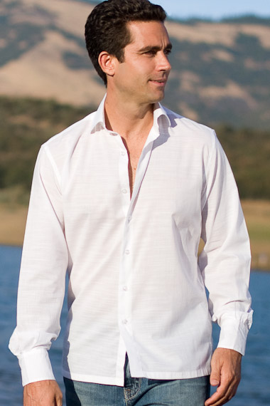 Mens Bamboo Shirt for Destination Weddings - White