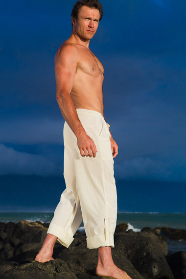 Men's Cotton Drawstring White Ivory Sailor Pants