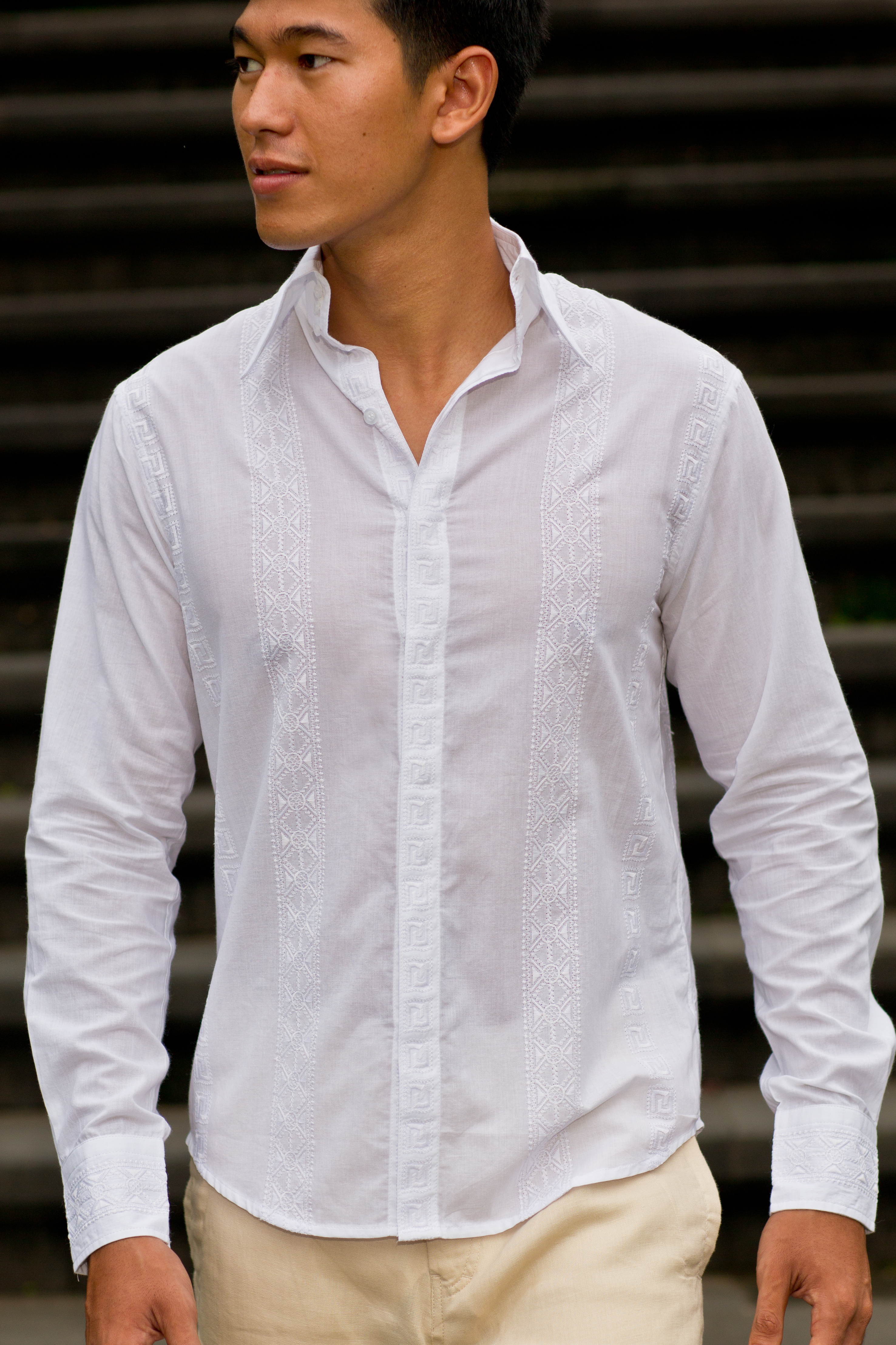 Cancun shirt - exclusive design - slim-fitting - white - Island Importer