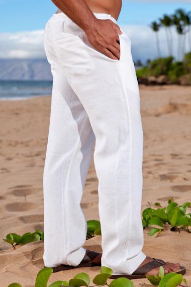 03cd3b4c43 Men's White Linen Drawstring Pants - Loose Fit - Island Importer