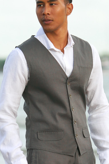 Men's Linen Gray Vest - Beach Wedding