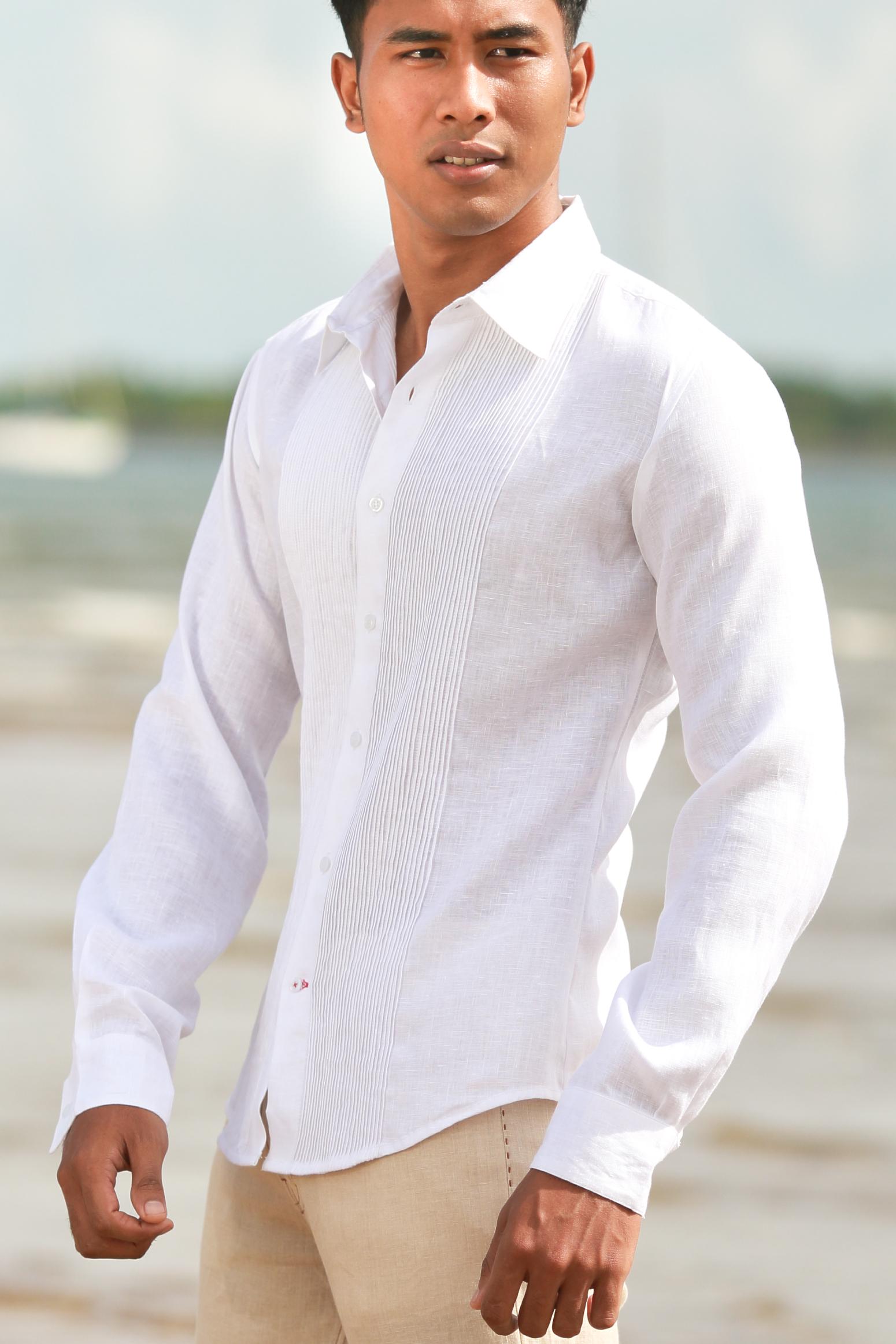 Men's Linen Guayabera Long Sleeve Havana White Shirt