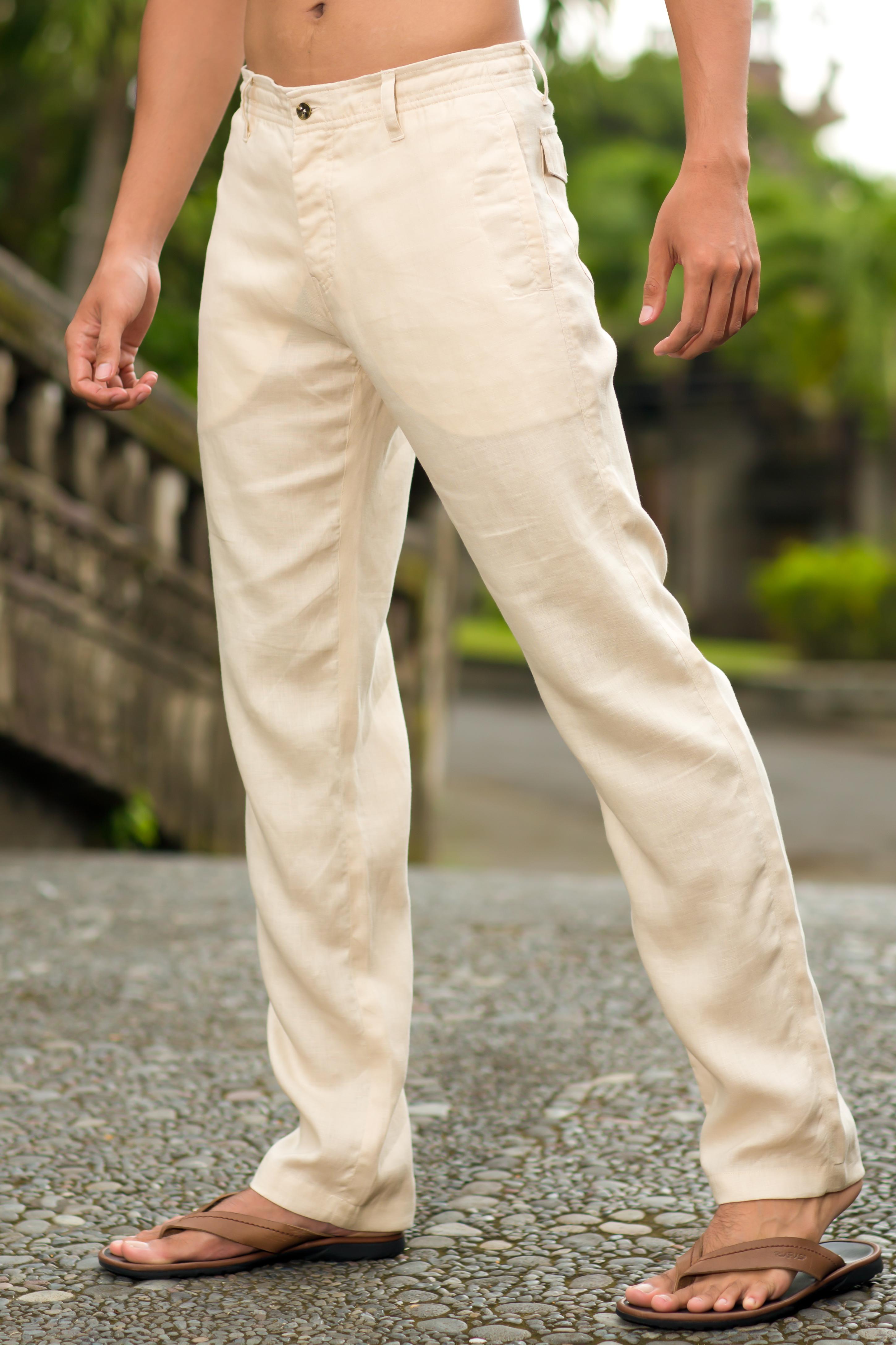 Men S Linen Natural Khaki Dress Pants Island Importer